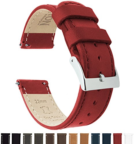 Barton Quick Release - Top Grain Leather Watch Band Strap - Choice of Width - 16mm, 18mm, 19mm, 20mm, 21mm 22mm, 23mm or 24mm- Crimson Red 18mm