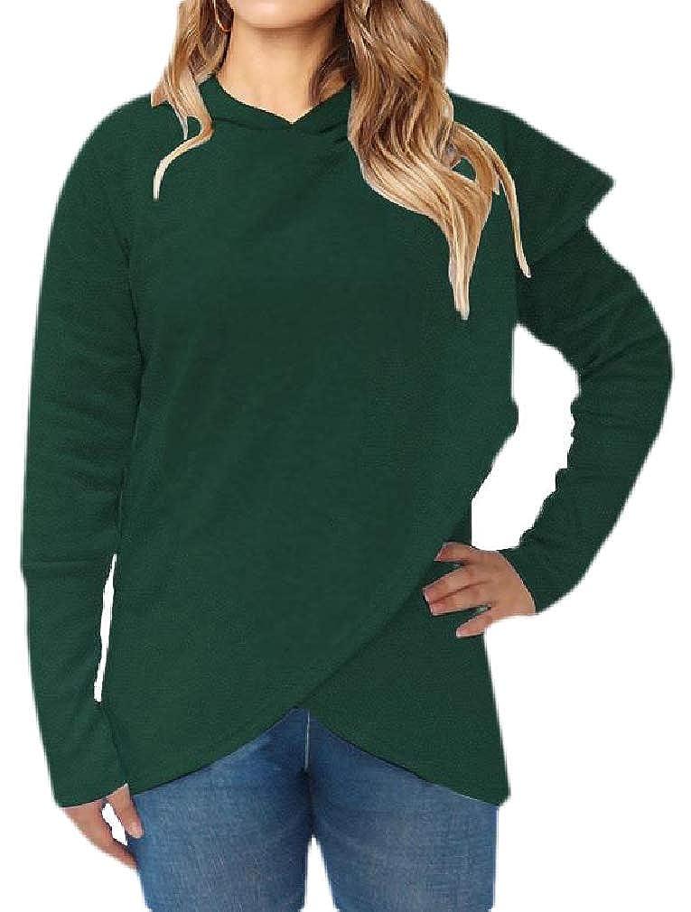 Hajotrawa Womens Casual Irregular Long Sleeve Poncho Pullover Hooded Sweatshirts