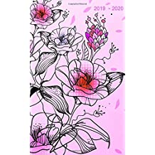 """2019 - 2020: Two-Year Monthly Pocket Planner: 24-Month Calendar , Notes and Phone book, U.S. Holidays, Size : 4.0"""" x 6.5"""", Hand Lettering book ( Flowers on Pink )"""