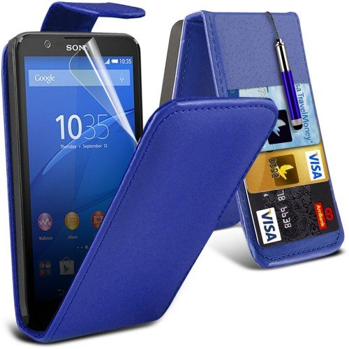 Sony Xperia E4g Leather Flip Case Cover (Blue) Plus Free Gift, Screen Protector and a Stylus Pen, Order Now Best Valued Phone Case on Amazon! By FinestPhoneCases