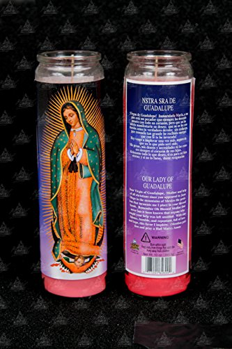 Glow Bright Our Lady of Guadalupe Candle - Pink Candle (Pack of 6) - 8 inch Scented Candles