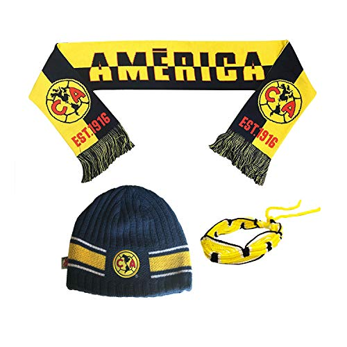 fccdd7a2ed2 Club America Aguilas Mexico Soccer Set Beanie Skull Cap Hat and Scarf  Reversible + Team Colors Bracelet amer007