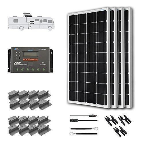 RENOGY® RV Solar Kit 400W: 4pc 100W Mono Solar Panel + ViewStar 30A Charge Controller w/ LCD Display + 40' MC4 Adapter Kit + 16' Tray Cable + Z Brackets