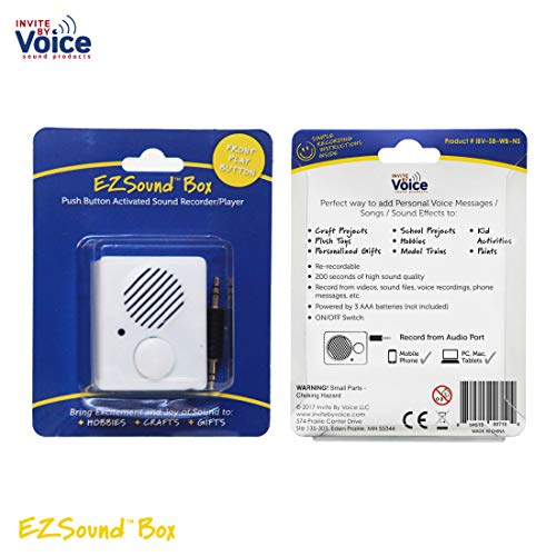 - EZSound Box - Front Play Button for Personal Messages, Favorite Tunes, Stuffed Toys, Science Projects, Hobbies, Craft Projects, Talking Displays, etc - 200 seconds - Rerecordable thru Audio Port