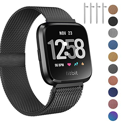 Fitlink Metal Bands Compatible for Fitbit Versa/Versa Lite Edition/Versa 2 Smart Watch for Women and Men,Small and Large, Multi-Color (Black, Small)