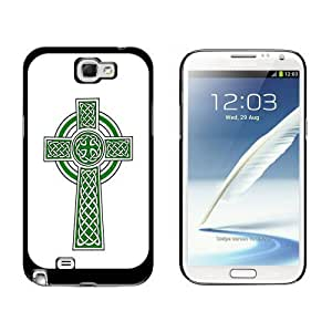 Celtic Christian Cross Irish Ireland Scotland Scottish Green White Case for Samsung Galaxy Note II 2 Black phonease...