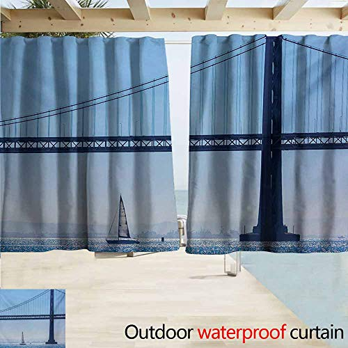 AndyTours Exterior/Outside Curtains,Sailboat San Francisco Bay Bridge Sailboat from Pier 7 in California USA Landmark Photo Print,Draft Blocking Draperies,W55x45L Inches,Blue]()