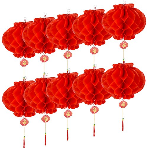 Battife Chinese Lanterns Red 10 Pack 10 Inch New Year Festival Hanging Paper Lanterns Party Decorations -