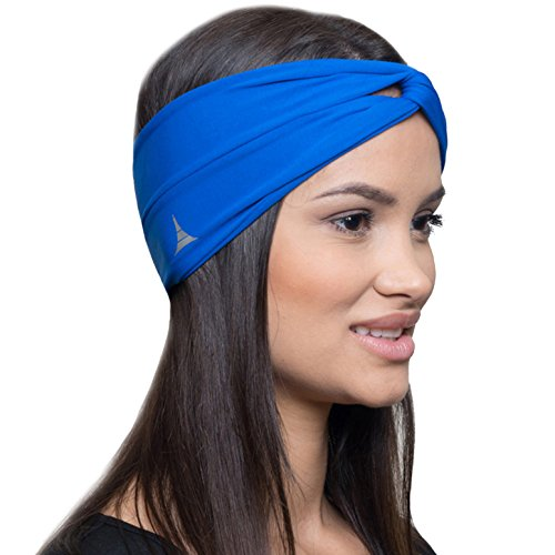 Moisture Wicking Turban Headband for Sports, Running, Workout and Yoga, Insulates and Absorbs Sweat, Women Hair Band by French Fitness Revolution