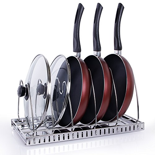 an Rack Pot Lid Holder with Draining Tray, Cookware Organizer for Cabinet Worktop Organization, 18/10 Stainless Steel (Adjustable Lid Organizer)