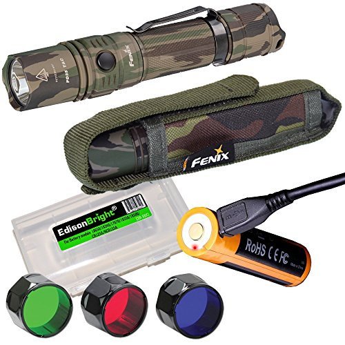 Cheap EdisonBright Fenix PD35 TAC CAMO 1000 Lumen CREE LED tactical flashlight, USB rechargeable battery, holster, RED, GREEN, Blue filters battery case bundle for hunting