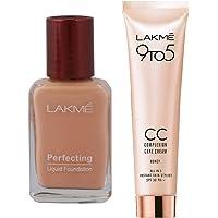 Lakme Perfecting Liquid Foundation, Pearl, 27ml & Lakme 9 to 5 Complexion Care CC Cream, Honey, 30g