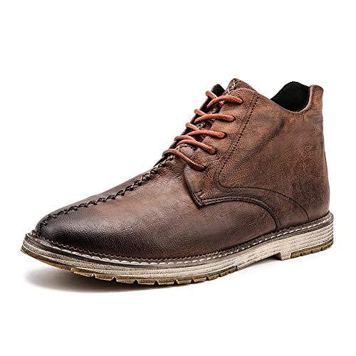 7fe4f0bad KENSBUY Men s Chukka Boot Lace-Up High Top Leather Cowboy Boots Ankle  Waterproof Brown EU 44