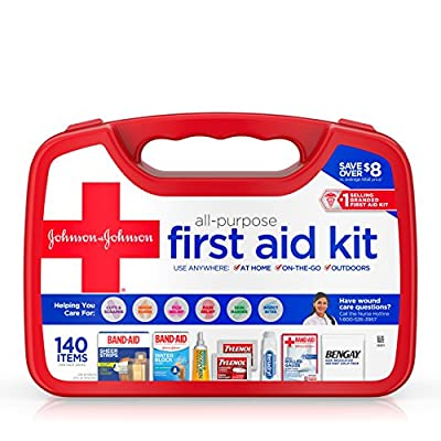Johnson & Johnson All-Purpose Portable Compact Emergency First Aid Kit for Travel Home & Car, 140 pc by Johnson & Johnson - Ketotifen