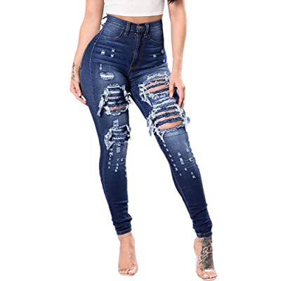 ALIKEEY Las Mujeres Slim Washed Ripped Hole Gradient Long Jeans Denim Sexy Regular Pants: Ropa y accesorios