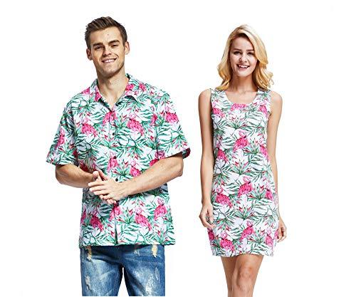 Couple Matching Hawaiian Luau Cruise Christmas Outfit Shirt Dress Flamingo in Love