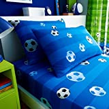 Hendem Goal Blue Single Fitted Sheet Set Kids Girls Children's Rotary Football Bedding With Pillowcase