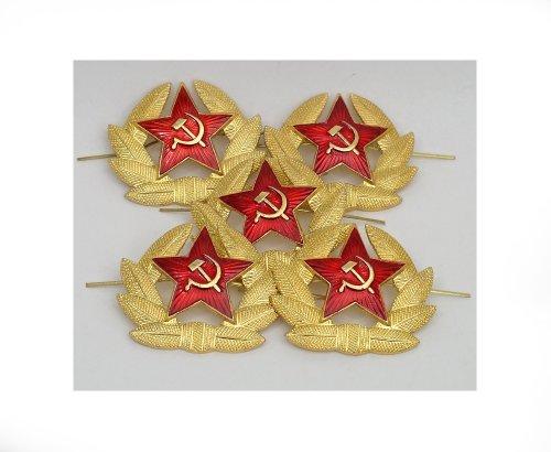 SOVIET ARMY RED STAR INSIGNIA USSR HAMMER & SICKLE HEAD GEAR BADGE (Set of 5)
