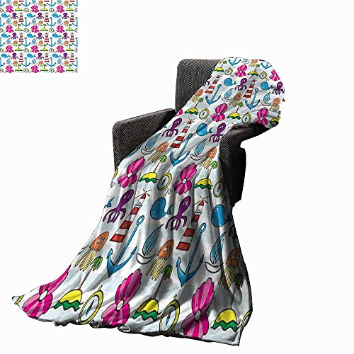 Lightweight Blanket Whale Boat Island Anchor Octopus Jellyfis 70