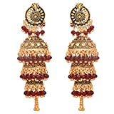 Jwellmart Indian Ethnic Bollywood Gold Polish Wedding Pearl Jhumki Jhumka Fashion Earrings