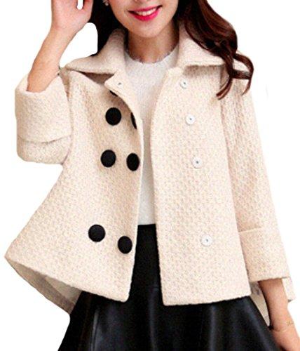 GAGA Women's Elegant Short Wool Coat Loose Lapel Double-Breasted White S (Womens Winter Coats Short)