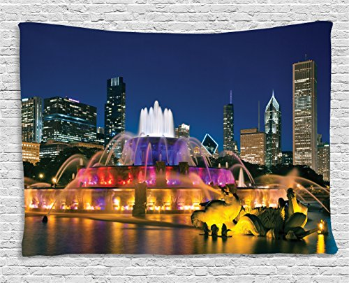 Ambesonne Chicago Skyline Tapestry, Buckingham Fountain Landmark in The Center of Grant Park Vibrant Night, Wall Hanging for Bedroom Living Room Dorm, 80 W X 60 L Inches, ()
