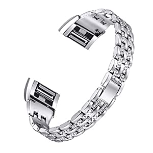 For Fitbit Charge 2, bayite Replacement Metal Bracelet Adjustable Fitbit charge 2 Bands Silver with Rhinestone