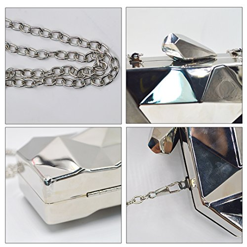 Evening Diamond Cross Bags Meliya Chain Womens Pattern Geometric Bags Handbag Body Purse Gold Clutch Mini Silver Metal YHB4q