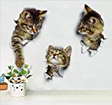 3pcs 9.8x6.5in 3D Wall Decals Stickers Vivid Decors Murals (Cat) for Room Home Removable Wall Art Decals Wall for kids Rooms DIY Home Decoration