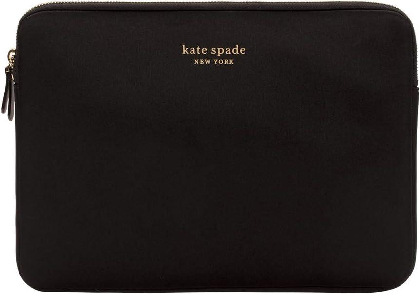 "kate spade new york Slim Sleeve for 13"" - Black/Gold Zipper/Gold Printed Logo"