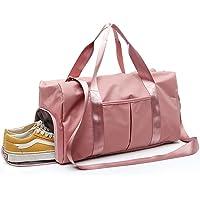 YOYAMALL Bolsa deportiva para el gimnasio, Bolsa de natacion, con compartimiento para zapatos y bolsillo mojado para el baile de yoga. (rosado, one pack)