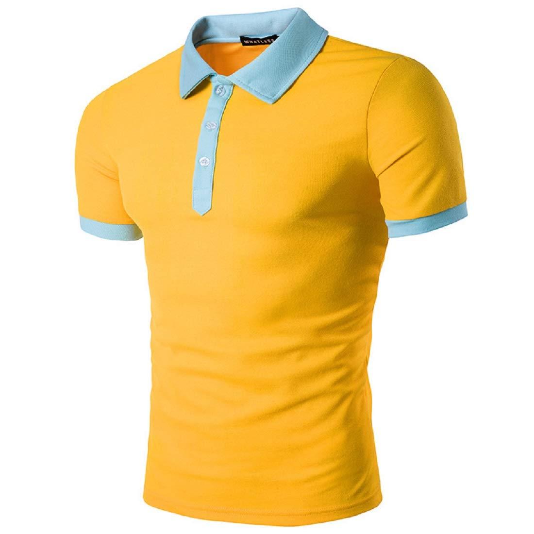 Camisetas Hombre, Moda Botón T-Shirt Polo Manga Corta Fitness ...