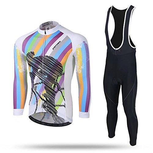 傾向がある辞任するびっくりするKayiyasuカイヤス サイクルウェア 長袖 サイクルジャージ 上下セット メンズ 自転車 サイクリングジャージ ビブ付き 伸縮性 通気性 019-xhyd-cjqh(M 図色 )