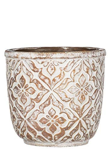 Patterned Pottery - Sullivans Patterned Round Cement Brown Garden Pot,7.25