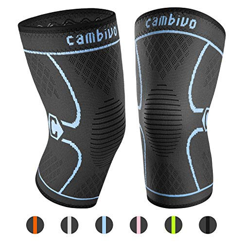 CAMBIVO 2 Pack Knee Brace, Knee Compression Sleeve Support for Running, Arthritis, ACL, Meniscus Tear, Sports, Joint Pain Relief and Injury Recovery(FDA Approved) (X-Large (21'' - 23''), Black/Blue)