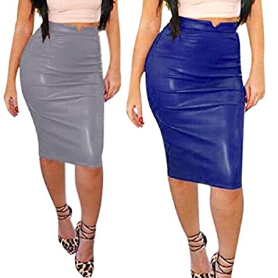 Lookatool Skirts, Skirts, Women Leather Skirt High Waist Slim Party Pencil Skirt