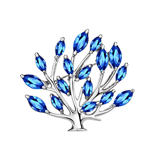 Neoglory Platinum Plated Blue Brooches Tree of Life Brooch Gift Boxed