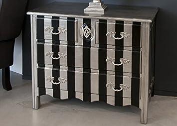 Casa Padrino Barock Kommode Silber / Schwarz Streifen 94cm - Antik ...