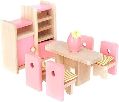 4 SET Ensemble de Meubles Bois Accessoires pour Maison de Poupée Miniature