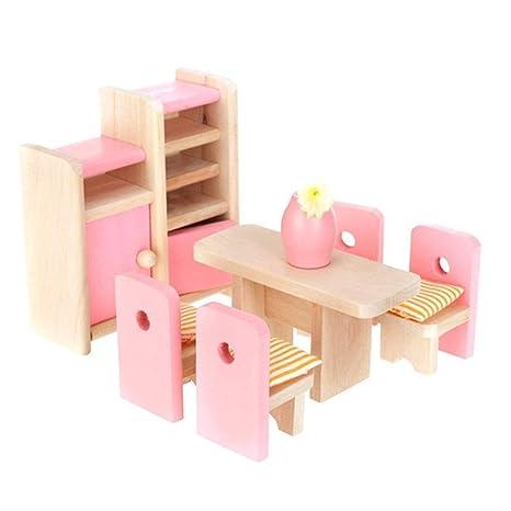 Generic En Bois Salle A Manger Maison De Poupees Miniature Meubles Table A Manger Chaises Cabinet Jouet Ensemble Doll Famille Faire Semblant