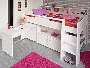 Expendio Hochbett Kinderbett Sway 211x132x130cm Weiss Kinderzimmer