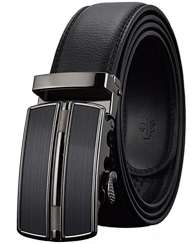 Men's Belts Leather Designer Black Automatic Dress Belt Buckle Ratchet Belt for Men (Mens Leather Vans Belt)