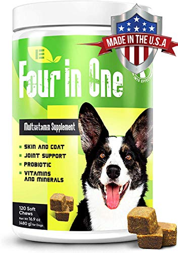 Into Effect 4 in 1 Dog Multivitamin - Essential Dog Vitamins and Supplements for Joints, Immune System and Skin & Coat - Wheat-Free Puppy & Senior Dog Vitamins - 120 Soft Chews Multivitamins for Dogs