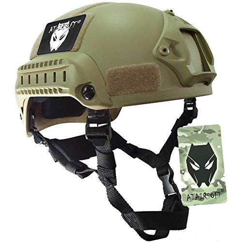 ATAIRSOFT PJ Type Tactical Airsoft Paintball MICH 2001 Helmet with Side Rail & NVG Mount DE (Mich Airsoft 2001 Helmet)