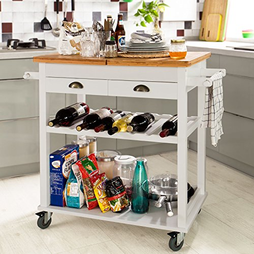 SoBuy XXL Kitchen Trolley Cart, Kitchen Storage Rack Serving Trolley with Bamboo Top, L80cm(31.5in)xW50cm(19.7in)xH90cm(35.4in), FKW08-WN, Nature+White