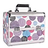 Funime Aluminium Vanity Make-up Cosmetic Box Case for Nail Hair Salon Jewelry with 4 Long Tray / Clasp Lock with Keys (Blue Polka Dot)