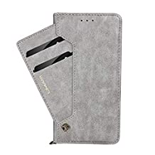 iPhone Xs Max Case 6.5 inch, Businda Case Wallet Retro Simple Stylish Slim Case, Premium PU Leather Protection with Card Slots for iPhone Xs Max 2018 with 6.5''-Gray