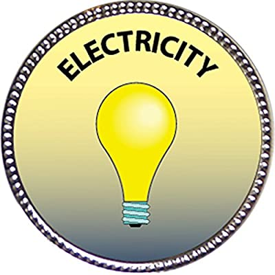 Keepsake Awards Electricity Award, 1 inch Dia Silver Pin Special Knowledge Collection: Toys & Games