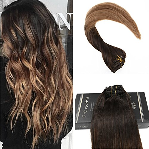 Ugeat 14inch Balayage Dipdye Color Clip in Hair Extensions Chocolate Brown #4 Fading to #6 Medium Brown with #14 Real Hair Extensions Full Head 10Pcs 140Gram
