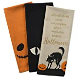 DII 100% Cotton, Oversized Decorative Halloween Holiday Printed Dish Towels, 18x28, Set of 3-Jack O Lantern